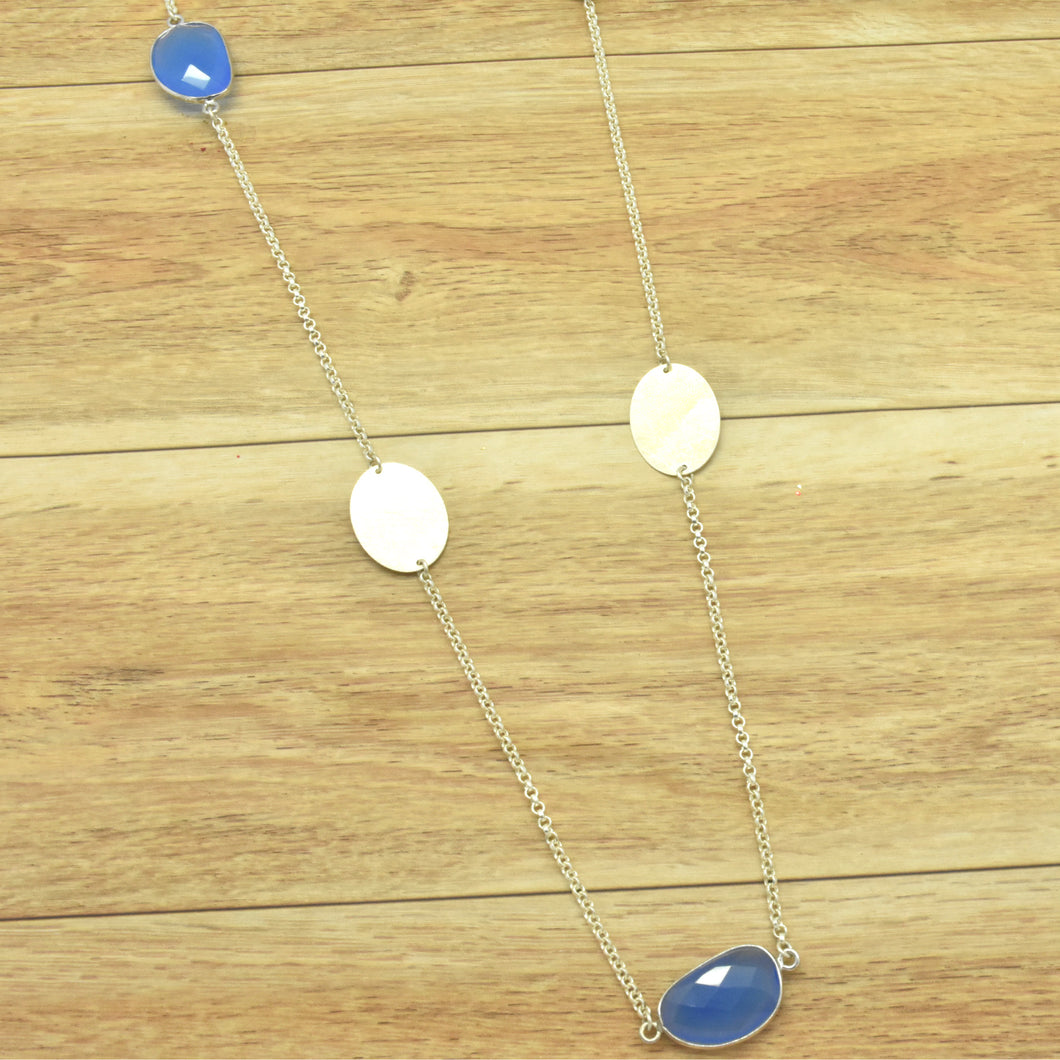 Sterling Silver and Blue Onyx Station Necklace