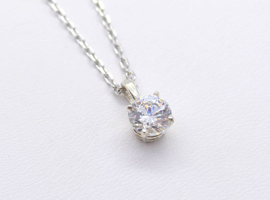 Cubic Zirconia Solitaire Silver Necklace
