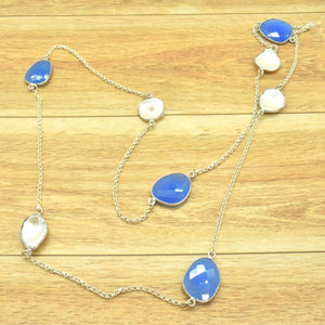 blue and onyx pearl necklace