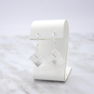 Silver Textured Square Dangle Earrings
