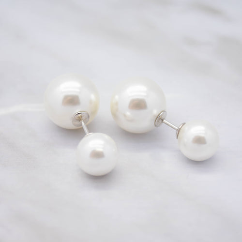 White Shell Pearl Front and Back Stud Earrings