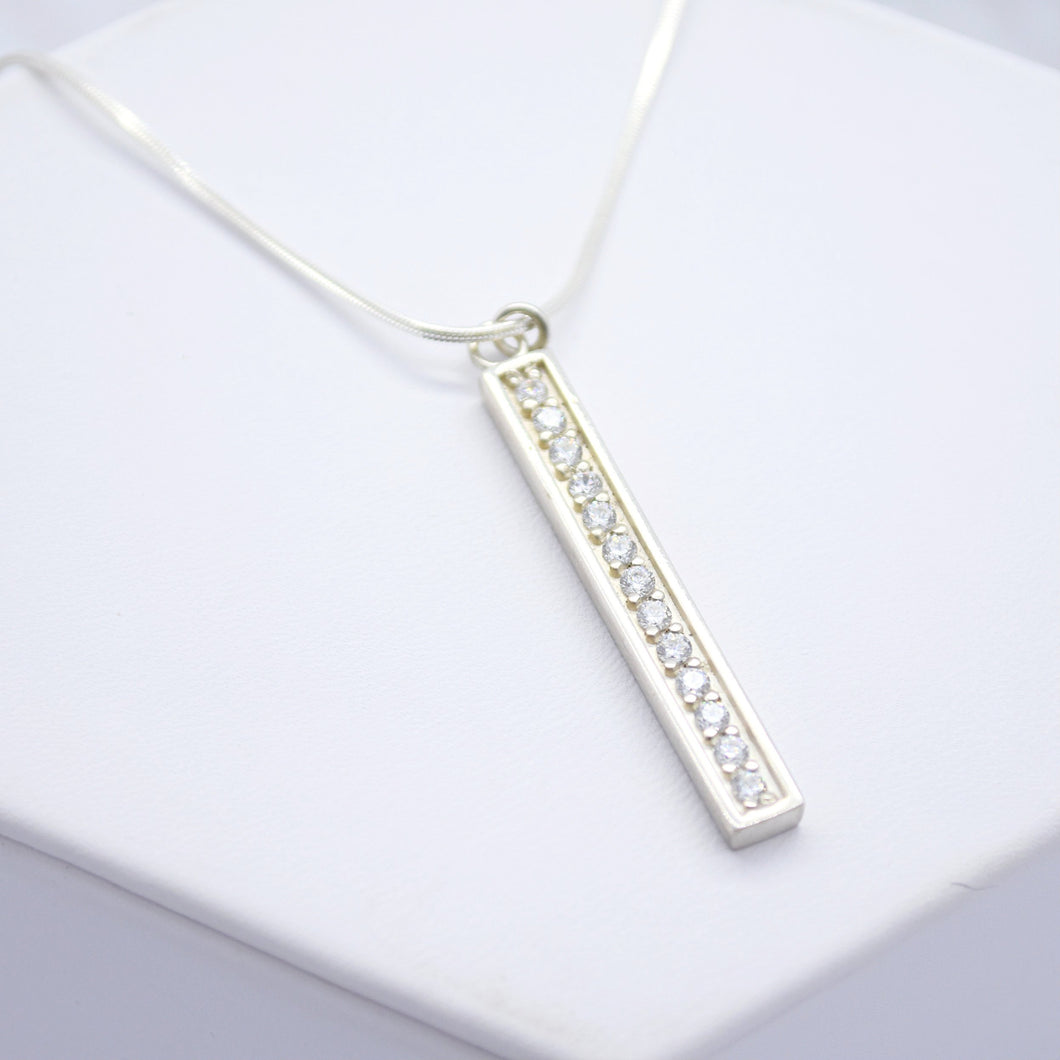 cubic zirconia bar necklace - sutton smithworks