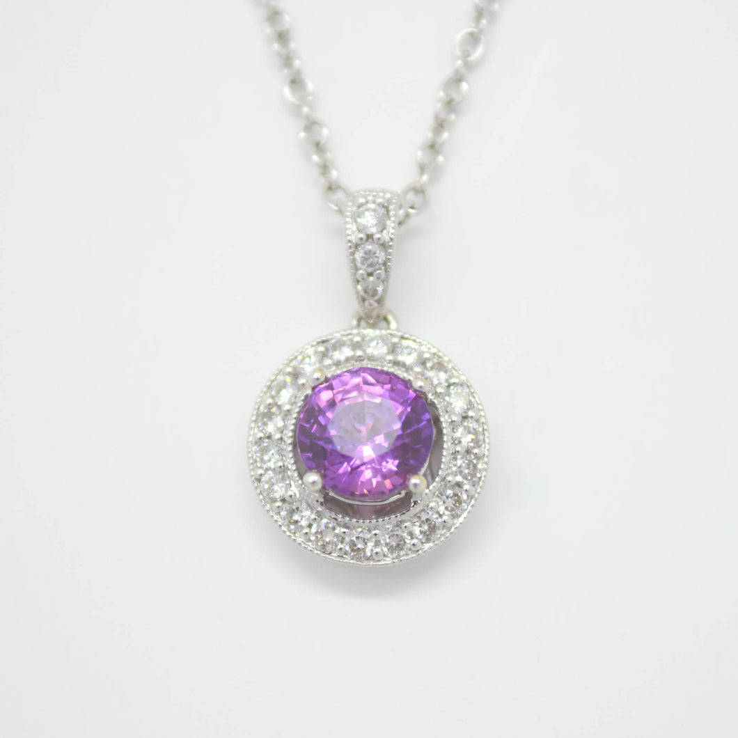 purple sapphire and diamond pendant