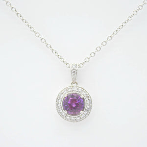 purple sapphire diamond necklace