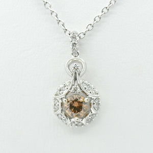 victorian star cinnamon diamond necklace white gold
