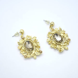 Yellow Oval Citrine Leaves Dangle Earrings