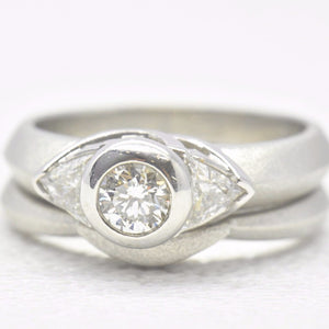 wedding bezel engagement ring set