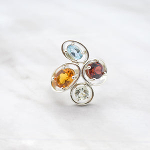 Multi-Gemstone Cluster Ring