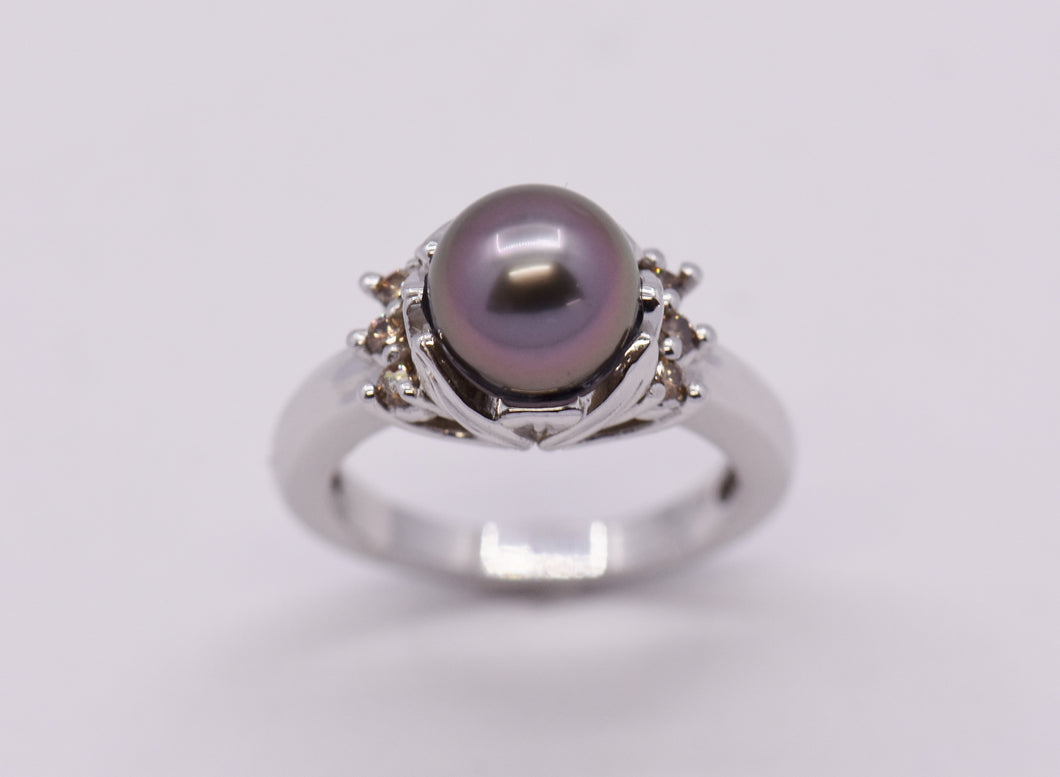 Tahitian Pearl  Ring with Lotus Setting