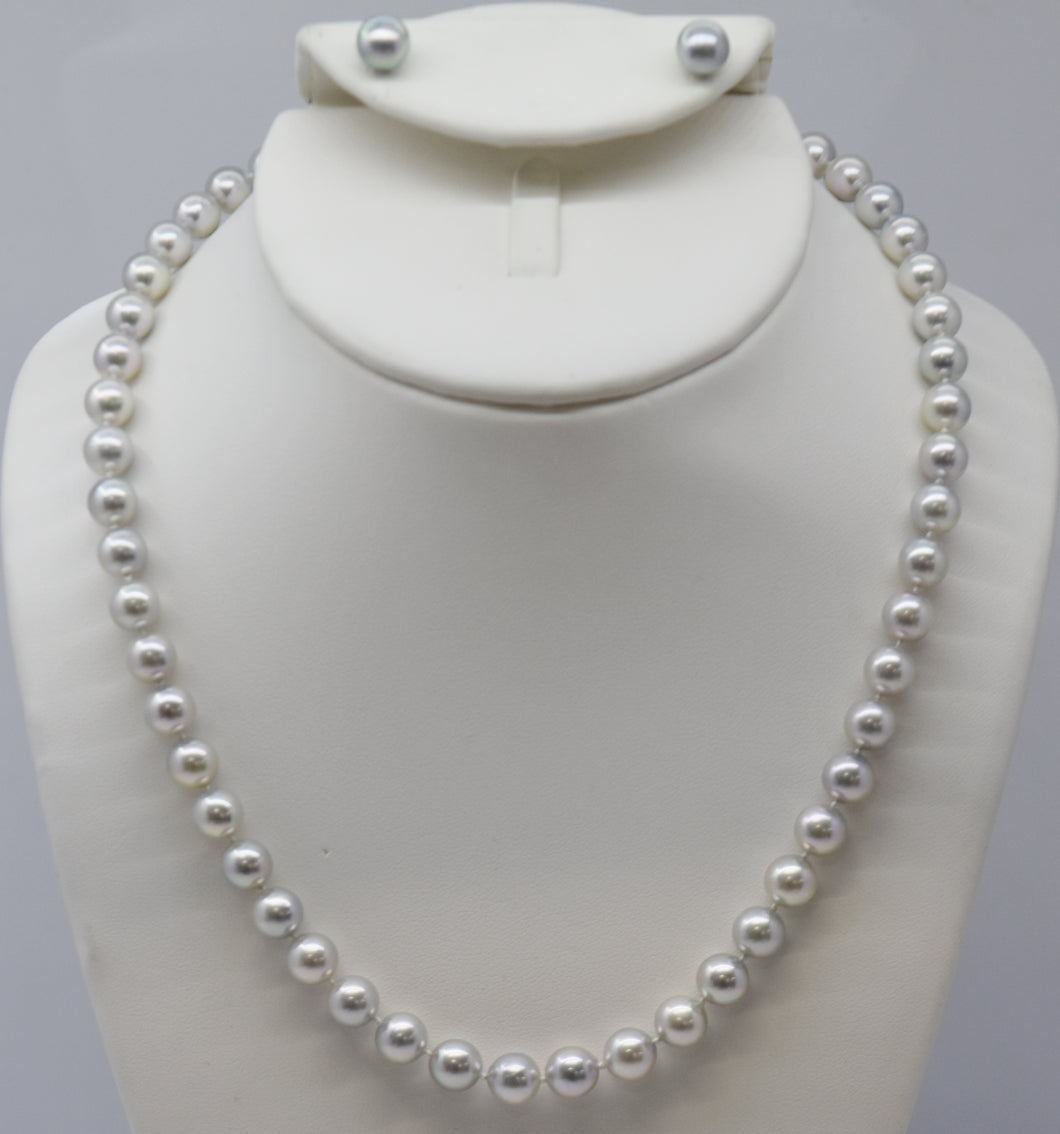 Silver Coloured Akoya Pearl Earring and Necklace Set