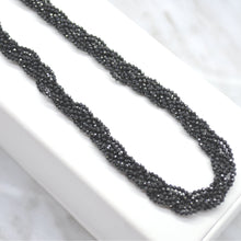 black spinel silver necklace