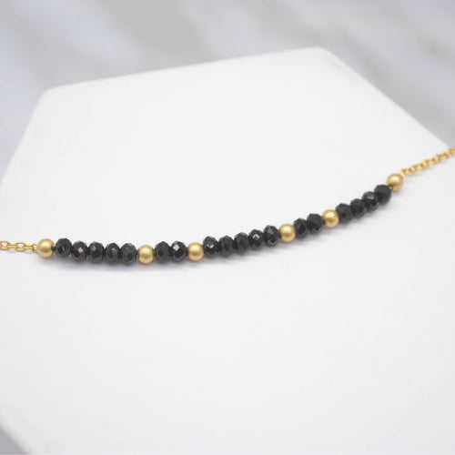 black spinel with gold filled beads necklace