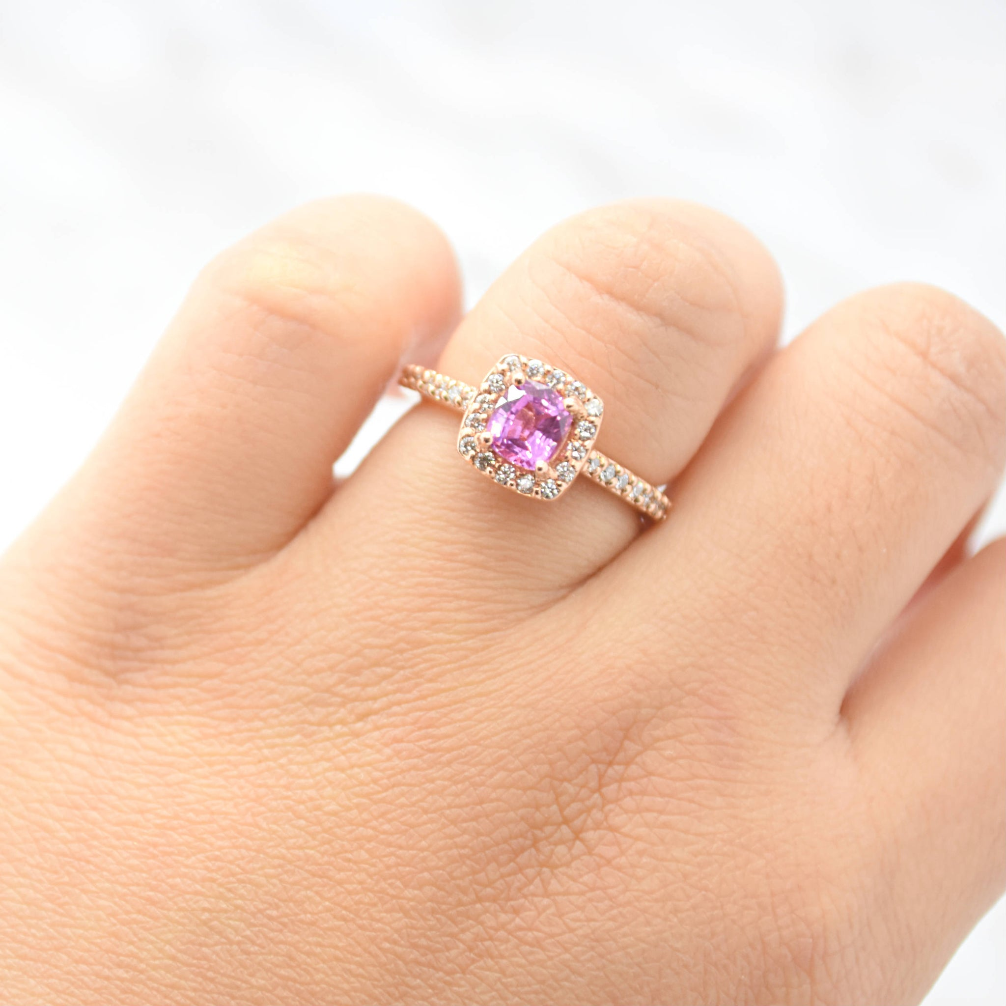 engagement ring diamond halo pink studded morganite with and prongs side youtube rings watch stone light