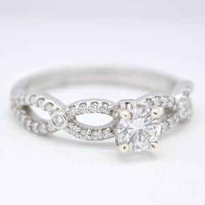 14K White Gold Infinity Engagement Ring