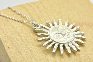 Sun Pendant Charm Sterling Silver Necklace