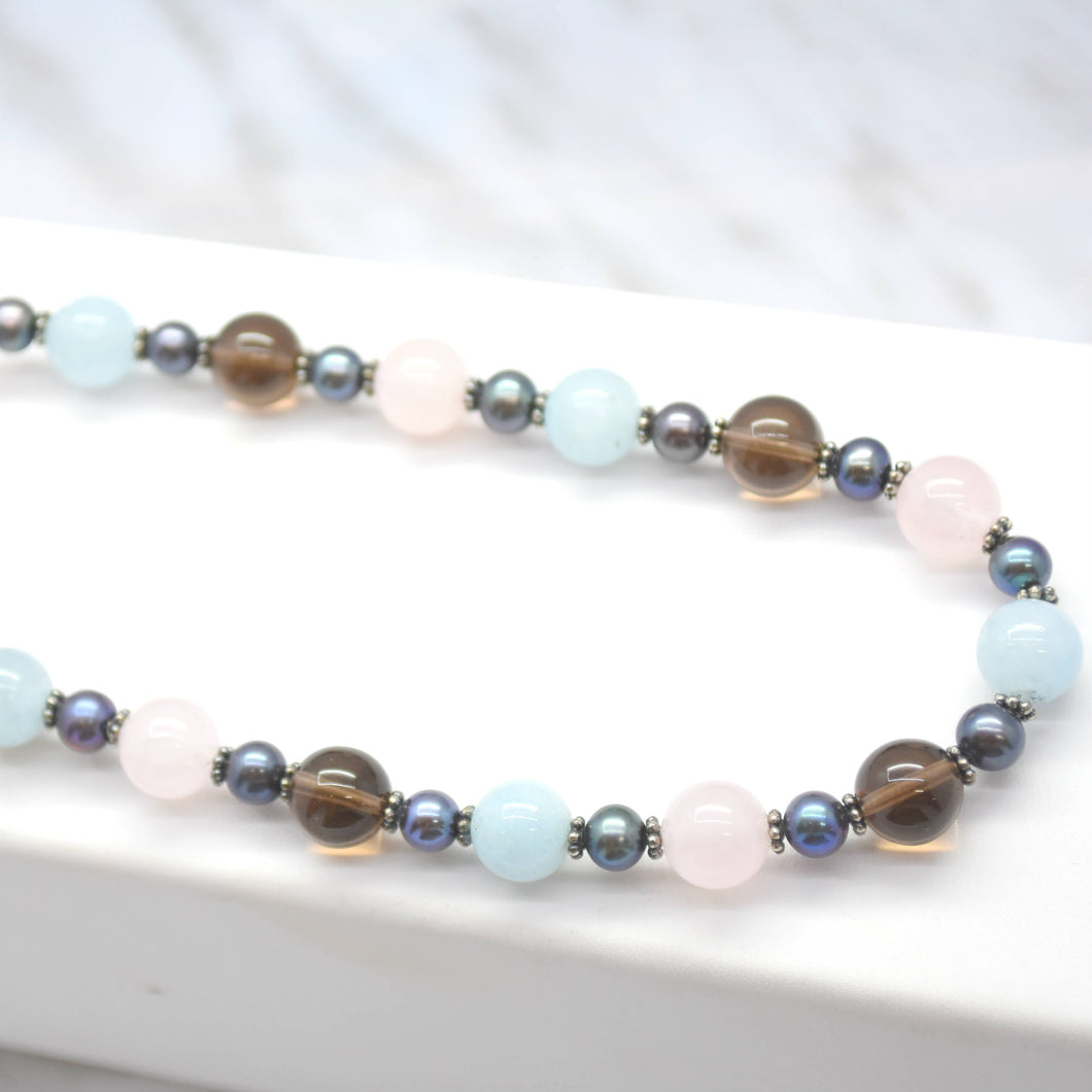 multi colored quartz beaded necklace