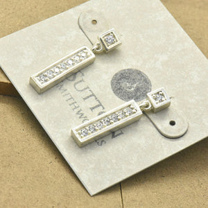 Sterling Silver Bar Stud With Dangle Earrings