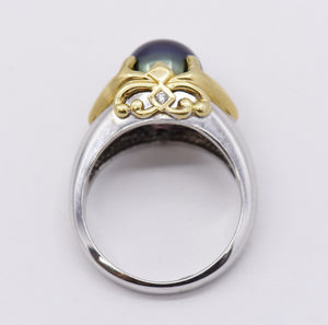 Yellow and White Gold Ring with Black Pearl