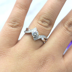 diamond bypass engagement ring in white gold
