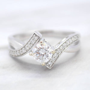 bypass diamond engagement ring