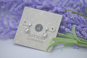 silver drop cz earrings sutton smithworks
