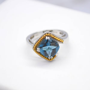 Blue Topaz Silver Ring with 18K Yellow Gold