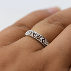 18K White Gold Wedding Band with Criss-Cross and Marquise Shaped Detail