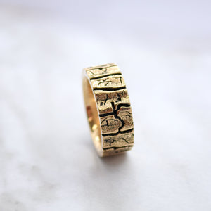 mens wedding band gold wood design