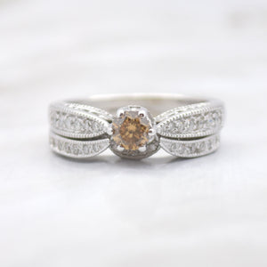 cognac diamond vintage wedding set