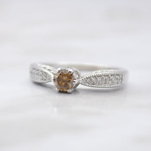 Vintage Inspired Cognac Diamond Wedding Set