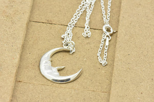 silver moon necklace charm sutton smithworks