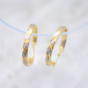 Yellow Gold Hoop Earrings with White Gold Marquise Accents
