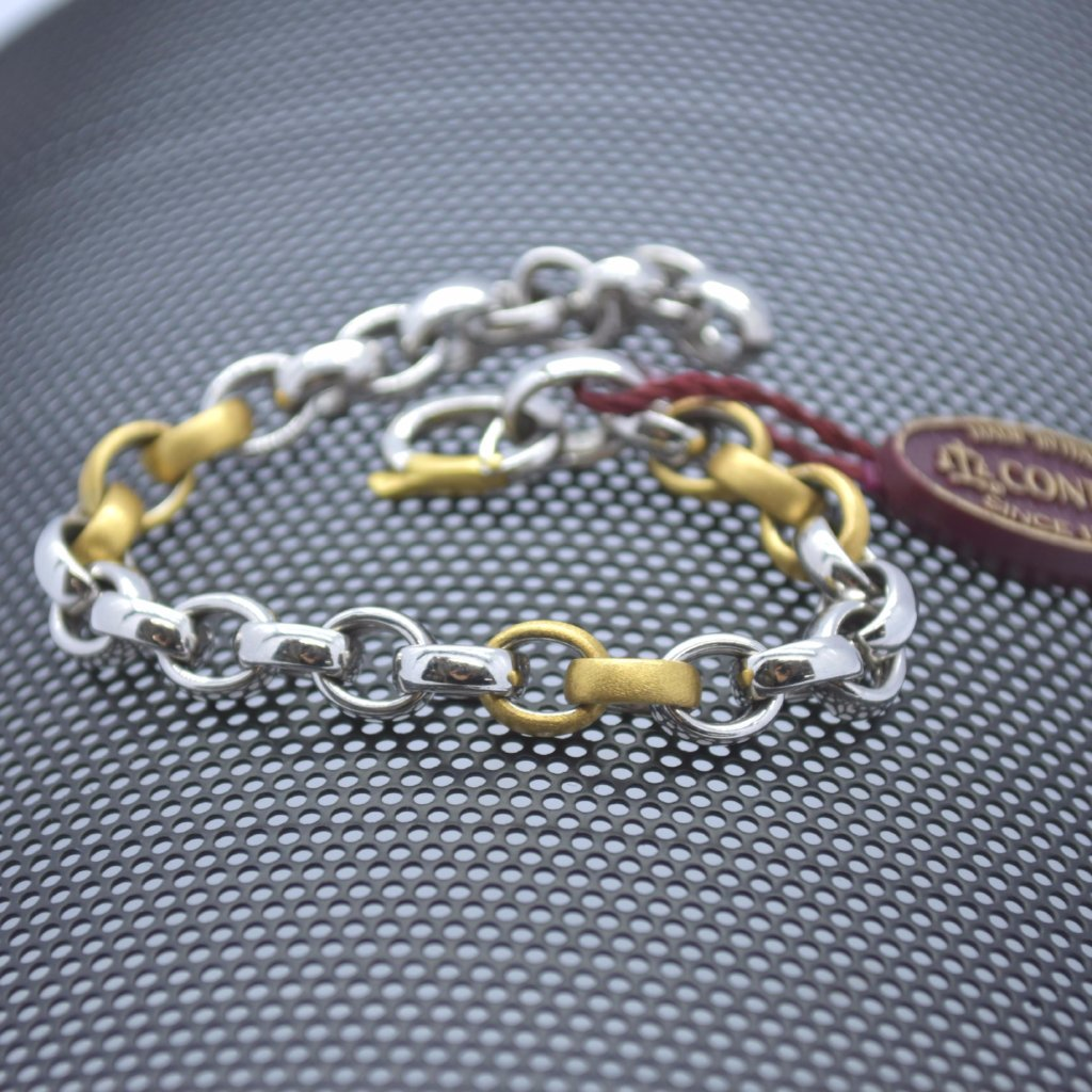 white and yellow gold rolo bracelet sutton smithworks