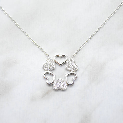 Six Hearts Silver Necklace