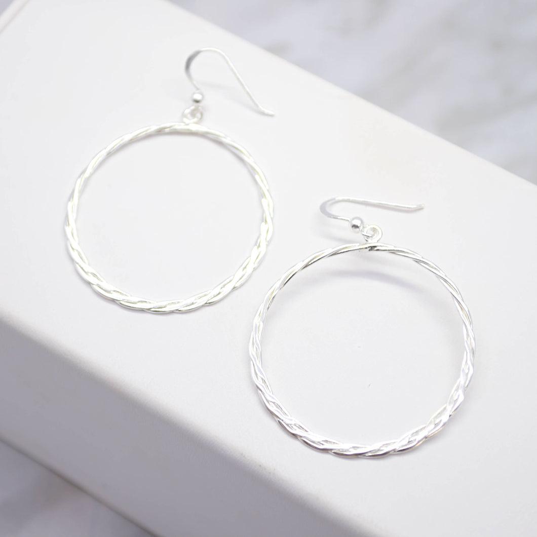 Braided Silver Hoop Earrings