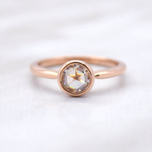 rose cut engagement ring in rose gold