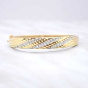 Twist Hinge Bangle Bracelet with Diamonds