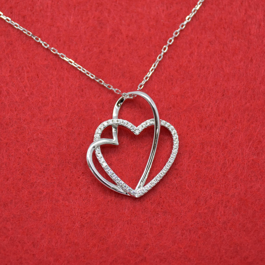Intertwine Hearts Silver Necklace