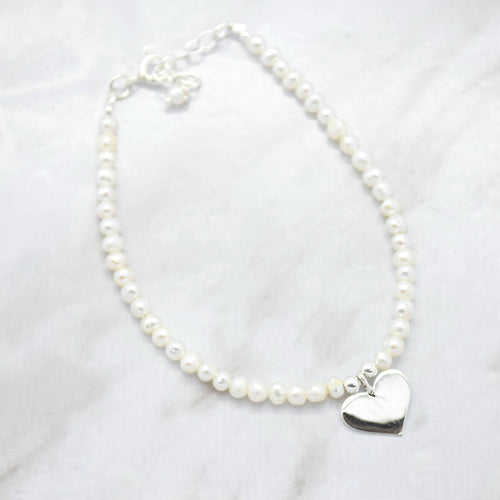 Freshwater Pearl Beaded Bracelet with Heart Charm