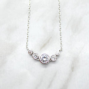 Graduated Bezel Pendant Necklace