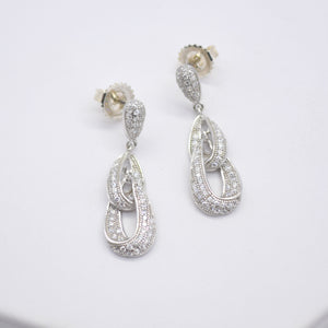 CZ Loop Drop Earrings