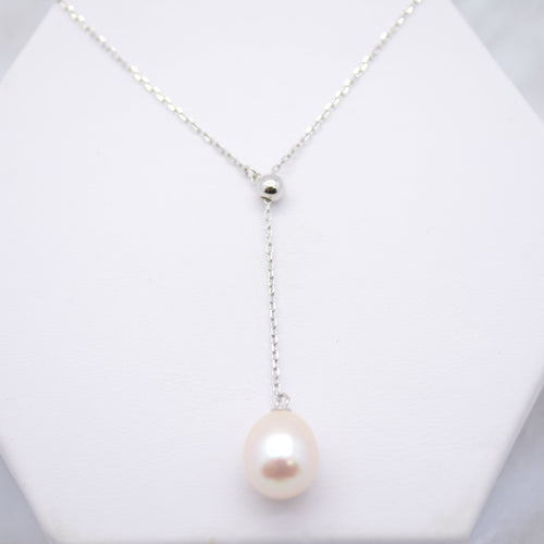 freshwater pearl lariat silver necklace