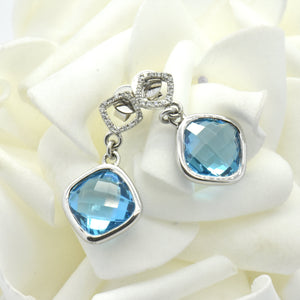 blue topaz diamond earrings - Sutton Smithworks