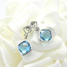 white gold blue topaz earrings - Sutton Smithworks