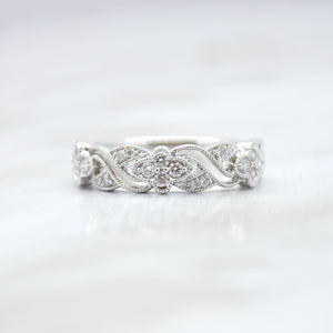 Fancy Pattern Diamond Wedding Band
