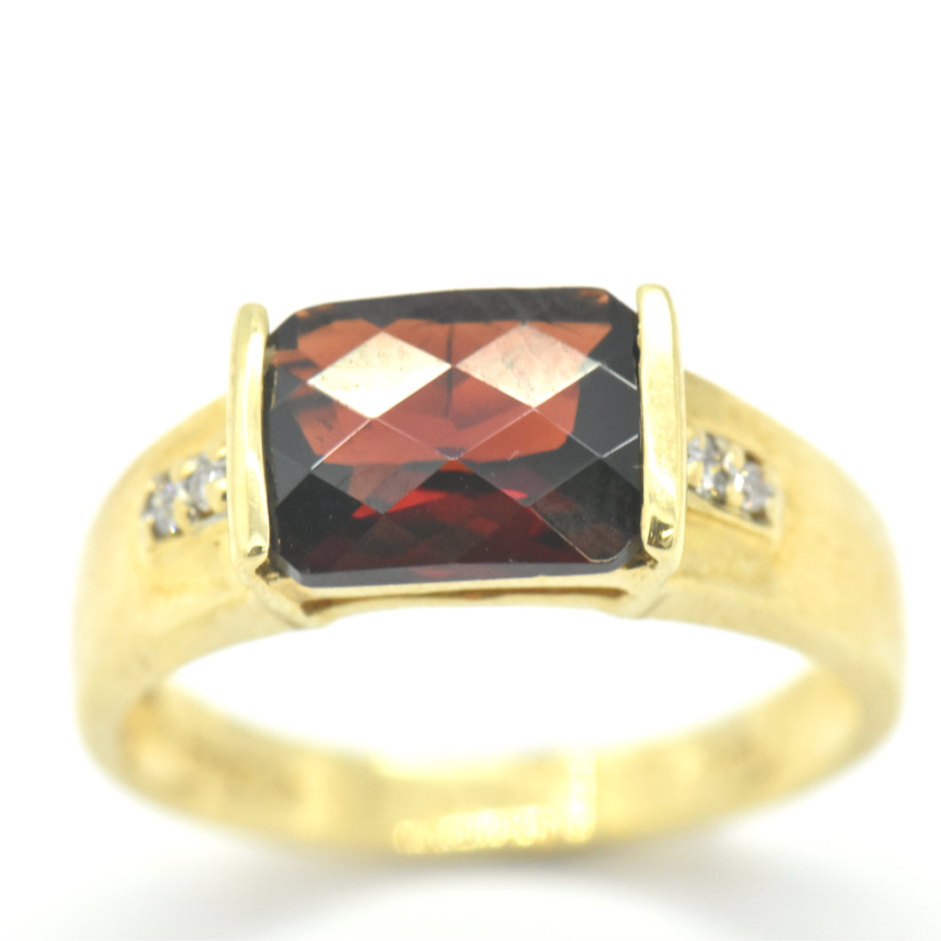 garnet yellow gold ring - sutton smithworks