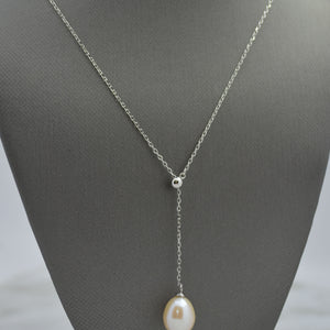 Freshwater Pearl Silver Lariat Necklace