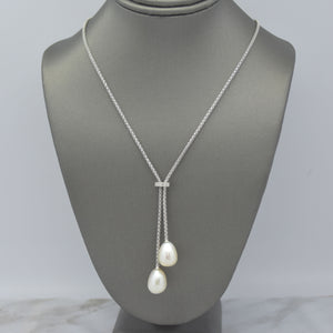 Pearl Lariat Necklace in Diamond Cut Mesh Chain