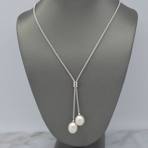Pearl Lariat Necklace in Mesh Chain