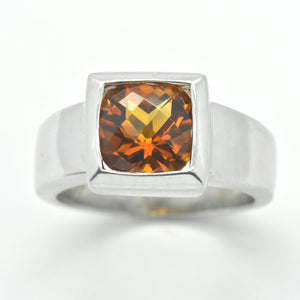 citrine bezel white gold ring